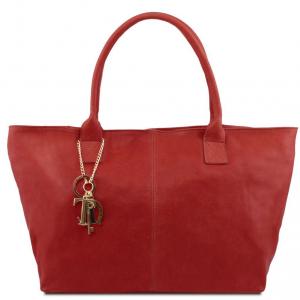Tuscany Leather TL141207 TL KeyLuck - Leather shoulder bag Red