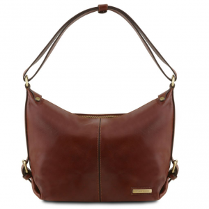 Tuscany Leather TL141479 Sabrina - Leather hobo bag Brown