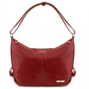 Tuscany Leather TL141479 Sabrina - Leather hobo bag Red