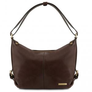 Tuscany Leather TL141479 Sabrina - Leather hobo bag Dark Brown
