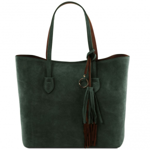 Tuscany Leather TL141639 TL Bag - Borsa shopper in pelle scamosciata Verde