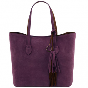 Tuscany Leather TL141639 TL Bag - Borsa shopper in pelle scamosciata Viola