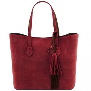 Tuscany Leather TL141639 TL Bag - Sac shopping en cuir suédé Rouge
