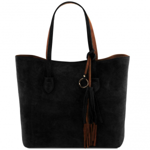 Tuscany Leather TL141639 TL Bag - Borsa shopper in pelle scamosciata Nero
