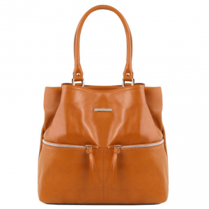 Tuscany Leather TL141722 TL Bag - Leather shoulder bag with front pockets Cognac