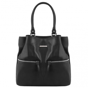 Tuscany Leather TL141722 TL Bag - Sac à épaule en cuir avec poches frontales Noir