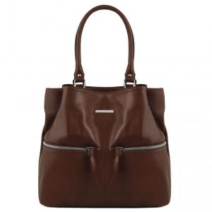 Tuscany Leather TL141722 TL Bag - Leather shoulder bag with front pockets Dark Brown