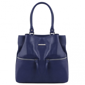 Tuscany Leather TL141722 TL Bag - Borsa a spalla in pelle con tasche frontali Blu scuro