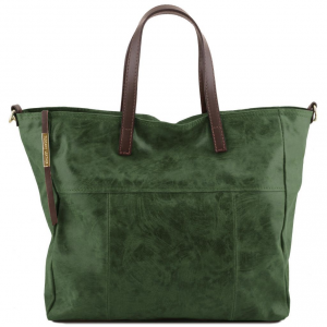 Tuscany Leather TL141552 Annie - Borsa shopping TL SMART in pelle effetto invecchiato Verde