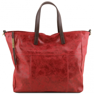 Tuscany Leather TL141552 Annie - Aged effect leather TL SMART shopping bag Red