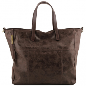 Tuscany Leather TL141552 Annie - Aged effect leather TL SMART shopping bag Dark Brown