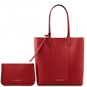 Tuscany Leather TL141709 Dafne - Leather shopping bag Red