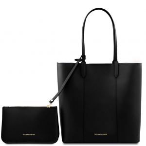 Tuscany Leather TL141709 Dafne - Leather shopping bag Black