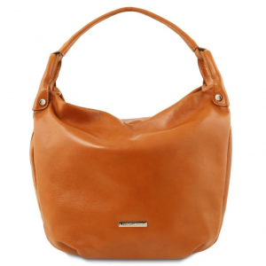 Tuscany Leather TL141721 TL Bag - Soft leather hobo bag Cognac