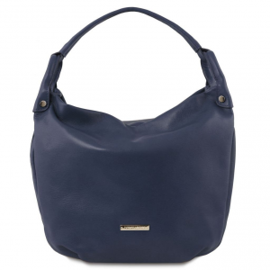 Tuscany Leather TL141721 TL Bag - Soft leather hobo bag Dark Blue