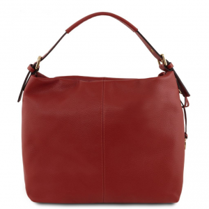 Tuscany Leather TL141719 TL Bag - Borsa hobo in pelle morbida Rosso