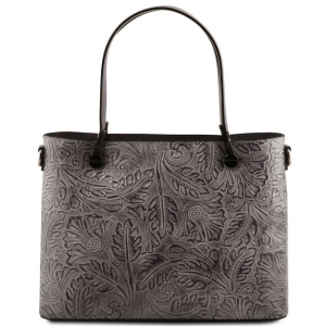 Tuscany Leather TL141655 Atena - Leather shopping bag with floral pattern Grey