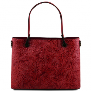 Tuscany Leather TL141655 Atena - Leather shopping bag with floral pattern Red