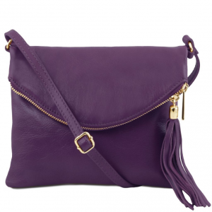 Tuscany Leather TL141153 TL Young Bag - Borsa a tracolla con nappa Viola
