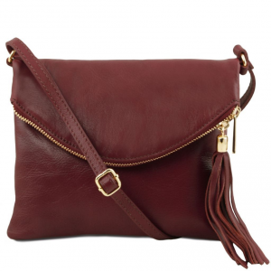 Tuscany Leather TL141153 TL Young bag - Shoulder bag with tassel detail Bordeaux