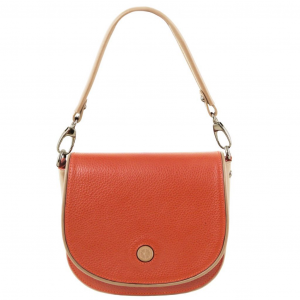 Tuscany Leather TL141726 Rosa - Pochette in pelle con tracolla Brandy