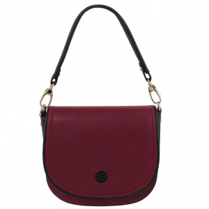 Tuscany Leather TL141726 Rosa - Pochette in pelle con tracolla Bordeaux