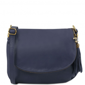 Tuscany Leather TL141223 TL Bag - Soft leather shoulder bag with tassel detail Dark Blue