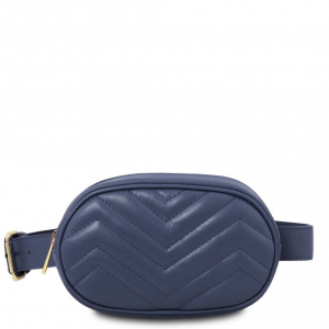 Tuscany Leather TL141699 TL Bag - Soft leather fanny pack Dark Blue