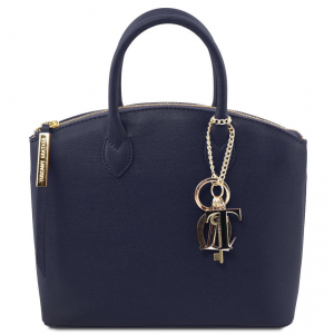 Tuscany Leather TL141265 TL KeyLuck - Saffiano leather tote - Small size Dark Blue