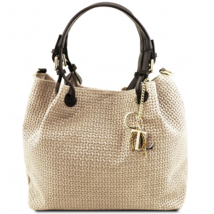 Tuscany Leather TL141573 TL KeyLuck - Woven printed leather shopping bag Beige