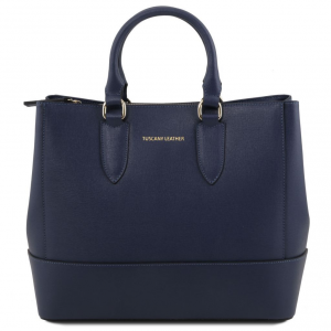 Tuscany Leather TL141638 TL Bag - Saffiano leather handbag Dark Blue