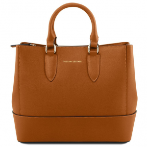 Tuscany Leather TL141638 TL Bag - Borsa a mano in pelle Saffiano Cognac