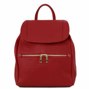 Tuscany Leather TL141697 TL Bag - Soft leather backpack for women Red