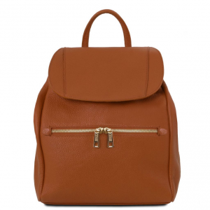 Tuscany Leather TL141697 TL Bag - Soft leather backpack for women Cognac
