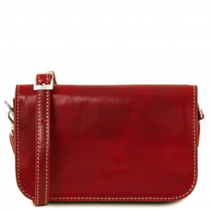Tuscany Leather TL141713 Carmen - Leather shoulder bag with flap Red