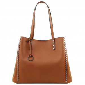 Tuscany Leather TL141735 TL Bag - Soft leather shopping bag Cognac