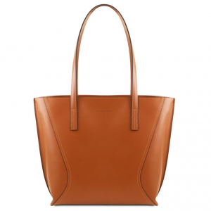 Tuscany Leather TL141790 Nemesi - Leather shopping bag Cognac