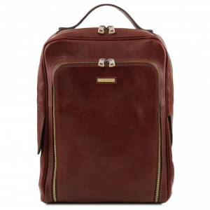Tuscany Leather TL141793 Bangkok - Leather laptop backpack Brown