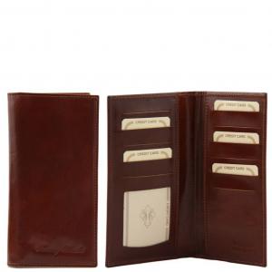 Tuscany Leather TL140784 Esclusivo portafoglio verticale in pelle 2 ante Marrone