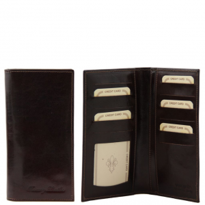 Tuscany Leather TL140784 Exclusive leather 2 fold vertical wallet Dark Brown