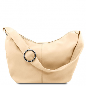 Tuscany Leather TL140900 Yvette - Soft leather hobo bag Beige