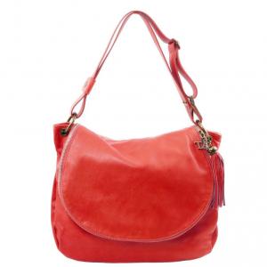 Tuscany Leather TL141110 TL Bag - Borsa morbida a tracolla con nappa Rosso Lipstick