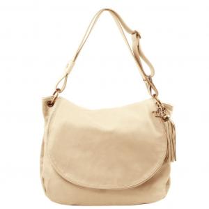 Tuscany Leather TL141110 TL Bag - Borsa morbida a tracolla con nappa Beige