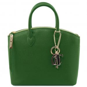 Tuscany Leather TL141265 TL KeyLuck - Borsa a mano in pelle Saffiano - Misura piccola Verde