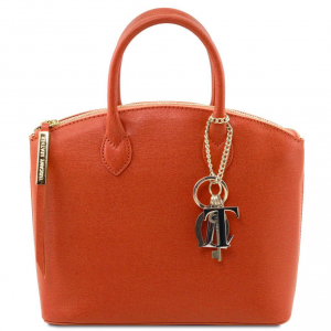 Tuscany Leather TL141265 TL KeyLuck - Borsa a mano in pelle Saffiano - Misura piccola Brandy