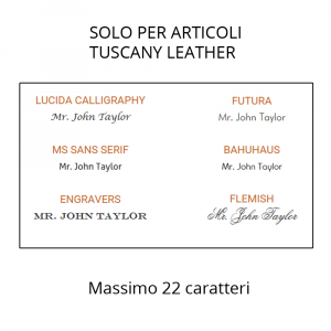 Incisione Laser per articoli Tuscany Leather