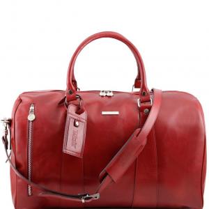 Tuscany Leather TL141216 TL Voyager - Borsa da viaggio in pelle - Misura piccola Rosso