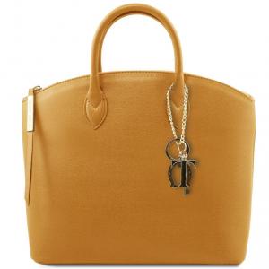 Tuscany Leather TL141261 TL KeyLuck - Borsa shopping in pelle Saffiano Senape