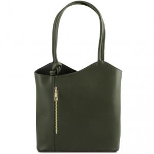 Tuscany Leather TL141455 Patty - Borsa donna convertibile a zaino in pelle Saffiano Verde scuro