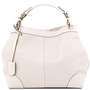 Tuscany Leather TL141516 Ambrosia - Borsa shopping in pelle morbida con tracolla Bianco